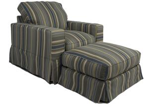 Americana Collection SU-108520-30-420045 Slipcovered Chair and Ottoman in Nantucket Stripe