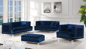 Lucas Collection 6094PCSTLARMSTKIT1 4-Piece Living Room Sets with Stationary Sofa, Loveseat, Living Room Chair and Ottoman in Navy