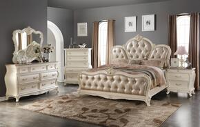 Marquee MARQUEEQDMCN 5 PC Bedroom Set with Queen Size Bed + Dresser + Mirror + Chest + Nightstand in Pearl White Finish