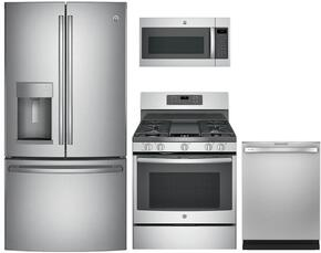 "4-Piece Stainless Steel Kitchen Package with GFD28GSLSS 36"" French Door Refrigerator, JGB700SEJSS 30"" Freestanding Gas Range, JVM7195SKSS 30"" Over the Range Microwave Oven, and GDT655SSJSS 24"" Fully Integrated Dishwasher"