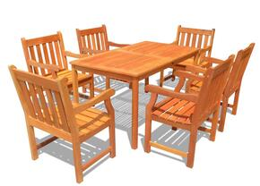 V98SET26 Outdoor Wood Balthazar Rectangular Table and 6 V209 Outdoor Wood Armchairs