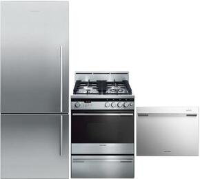 "3-Piece Stainless Steel Kitchen Package with RF135BDLX4 25"" Left Hinge Counter Depth Bottom Freezer Refrigerator, OR24SDMBGX2 24"" Freestanding Gas Range and DD24SDFX7 24"" Semi Integrated Single Drawer Dishwasher"