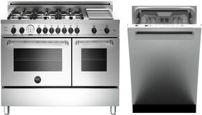 "2-Piece Stainless Steel Kitchen Package with MAS486GGASXTLP 48"" Dual Fuel Range with Liquid Propane, and DW24XT 24"" Fully Integrated Dishwasher with Professional Handle"