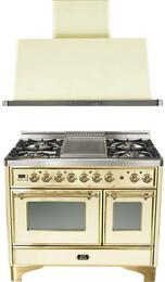 "2-Piece Antique White Kitchen Package with UMD100FDMPA 40"" Freestanding Dual Fuel Range (Brass Trim, 4 Burners, Griddle) and UAM100A 40"" Wall Mount Range Hood"