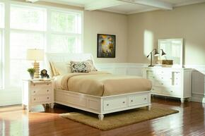 Sandy Beach Collection 201309KEDMN 4 PC Bedroom Set with Eastern King Size Bed + Dresser + Mirror + Nightstand in White Finish