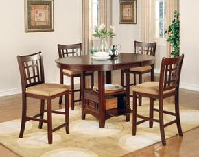 Lavon 100888NTS 5 PC Bar Table Set with Counter Height Table + 4 Bar Stools in Warm Brown Color