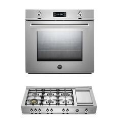 "Professional 2-Piece Stainless Steel Kitchen Package with F30PROXE 30"" Single Electric Wall Oven and CB36600X 36"" Gas Rangetop"