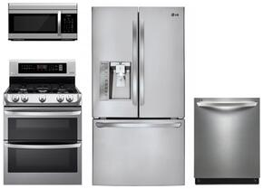 "4 Piece Kitchen Package With LDG4311ST 30"" Gas Freestanding Range, LMV1683ST 30"" Over The Range Microwave, LFXS29626S 36"" Bottom Freezer Refrigerator and LDF7774ST 24"" Built In Dishwasher"