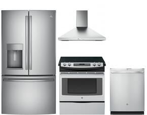 "4 Piece Kitchen Package with JS750SFSS 30"" Slide-in Electric Range, GYE22HSKSS 36"" Counter Depth French Door Refrigerator, GDT695SSJSS 24"" Built In Fully Integrated Dishwasher and JVW5301SJSS 30"" Wall-Mount Pyramid Chimney Hood in Stai"