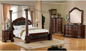 Edinburgh Collection CM7671CKBDMCN 5-Piece Bedroom Set with California King Bed, Dresser, Mirror, Chest and Nightstand in Brown Cherry Finish