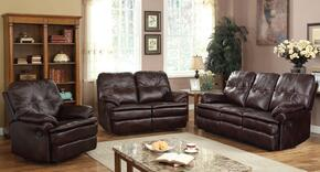 Zamora 50750SLR 3 PC Living Room Set with Sofa + Loveseat + Recliner in Brown Color