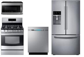 "4 Piece Kitchen Package With NX58F5500SS 30"" Gas Freestanding Range, ME21H9900AS 30"" Over the Range Microwave, RF23HTEDBSR 36"" French Door Refrigerator and DW80J7550US 24"" Built In Dishwasher"