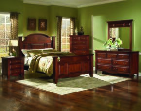 6740EBDMNC Drayton Hall 5 Piece Bedroom Set with King Bed, Dresser, Mirror, Nightstand and Chest, in Bordeaux