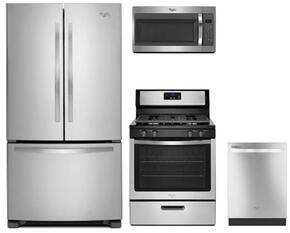 "4-Piece Stainless Steel Kitchen Package with WRF535SMBM 36"" French Door Refrigerator, WFG320M0BS 30"" Gas Range, WMH31017FS 30"" Over-the-Range Microwave and WDT720PADM 24"" Fully Integrated Dishwasher"