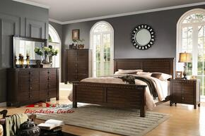 Brooklyn 23687EK5PC Bedroom Set with Eastern King Size Bed + Dresser + Mirror + Chest + Nightstand in Espresso Finish