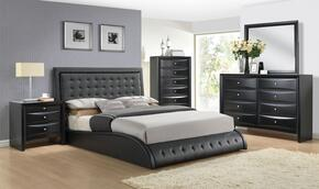 Tirrel 20660Q5PC Bedroom Set with Queen Size Bed + Dresser + Mirror + Chest + Nightstand in Black Color