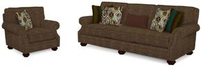 Heuer Collection 4260Q424385SC 2-Piece Living Room Set with Sofa and Chair in Brown with Walnut Finish