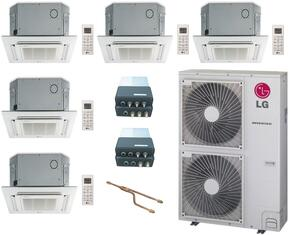 LMU600HVKIT58 5-Zone Mini Split Air Conditioner System with 60000 BTU Cooling Capacity, 5 Indoor Units, Outdoor Unit, 2 Distribution Boxes, 1 Y-Branch, and 5 Grille Kits