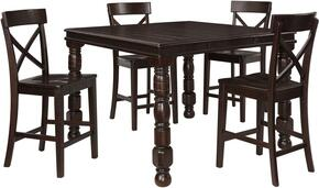Gerlane Collection 5-Piece Dining Room Set with Rectangular Counter Table and 4 Barstools in Dark Brown