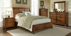 Hayden Place Collection 5 Piece Bedroom Set With King Size Storage Sleigh Bed + 2 Nightstands + Dresser + Mirror: Oak