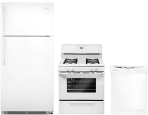 "3-Piece Builder Kitchen Package With FFTR18G2QW 30"" Freestanding Top Freezer Refrigerator, FFGF3015LW 30"" Gas Freestanding Range and FFBD2406NW 24"" Built In Full Console Dishwasher in White"