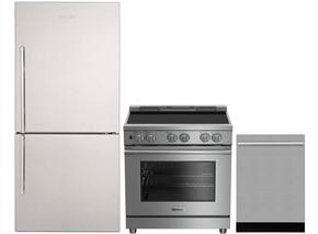 "3-Piece Kitchen Package with BRFB1812SSN 30"" Bottom Freezer Refrigerator, BDFP34550SS 30"" Slide-in Electric Range, and a free DWT55100SS 24"" Built In Fully Integrated Dishwasher in Stainless Steel"