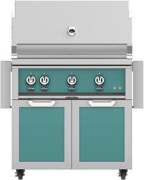 "36"" Freestanding Natural Gas Grill with GCD36TQ Tower Grill Cart with Double Doors, in Bora Bora Turquoise"