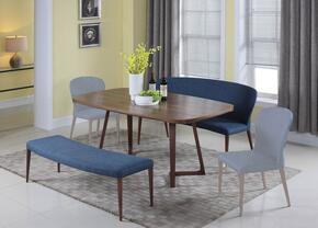 Samira Collection SAMIRA-3PC 3-Piece Dining Room Set with Dining Table, Nook and Bench in Walnut