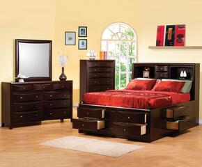 Phoenix Collection 200409KWSET 4 PC Bedroom Set with California King Bed + Dresser + Mirror + Chest in Deep Cappuccino Finish