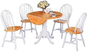 Damen 4241TC 5 PC Dining Room Set with Dining Table + 4 Side Chairs in Natural Brown and White Color