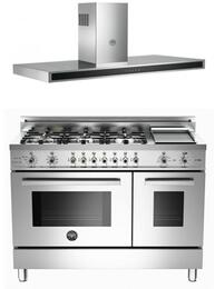 "Stainless Steel 2-Piece Kitchen Package With 48"" Professional Series Dual Fuel Freestanding Range and KG48CONX 48"" Wall Mount Range Hood For 50% Off"