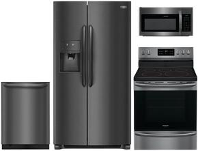 "Gallery 4-Piece Black Stainless Kitchen Package FGSC2335TD 36"" Side-by-Side Refrigerator, FGEF3036TD 30"" Freestanding Electric Range, FGID2466QD 24"" Fully Integrated Dishwasher and FGMV176NTD 30"" Over-the-Range Microwave"