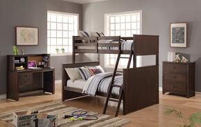 Hector Collection 380204PC Bedroom Set with Twin Over Full Bunk Bed + Chest + Desk + Hutch in Antique Charcoal Brown Color