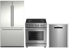 "3-Piece Kitchen Package with BRFD2230SS 36"" French Door Refrigerator, BDFP34550SS 30"" Freestanding Dual Fuel Range, and DWT58500SS 24"" Built In Fully Integrated Dishwasher in Stainless Steel"