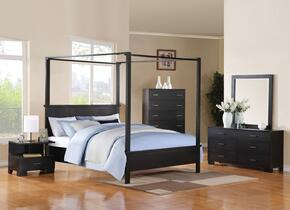 London 20046EK5PC Bedroom Set with Eastern King Size Bed + Dresser + Mirror + Chest + Nightstand in Black Color