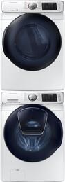 "White Front Load Laundry Pair with WF50K7500AW 27"" Washer, DV50K7500GW 27"" Gas Dryer and SKK7A Stacking Kit"