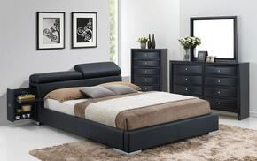 Manjot 20750Q4PC Bedroom Set with Queen Size Bed with Attached Nightstand + Dresser + Mirror + Chest in Black Color