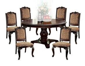 Bellagio Collection CM3319RT6FSC 7-Piece Dinig Room Set with Round Dining Table and 6 Fabric Side Chairs in Brown Cherry Finish