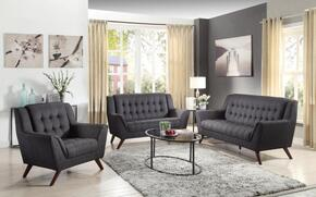 511034 Baby Natalia Mid-Century Modern Sofa, Love Seat and Chair in Black Fabric Upholstery