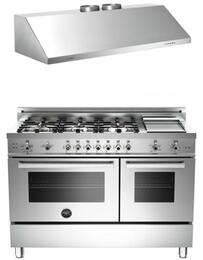 "Stainless Steel 2-Piece Kitchen Package With PRO486GGASXLP 48"" Professional Series Dual Fuel Freestanding Range and KU48PRO2X 48"" Professional Wall Mount Hood For 50% Off"
