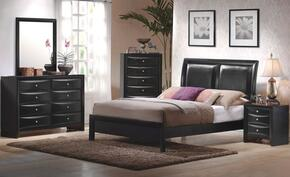 Briana Collection 200701QDMN 4 PC Bedroom Set with Queen Platform Bed + Dresser + Mirror + Nightstand in Black Finish
