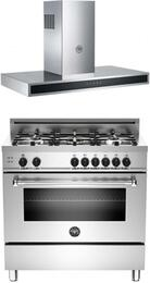 "Bertazzoni Stainless Steel 2-Piece Kitchen Package With MAS365GASXE 36"" Gas Freestanding Range with 5 Burners and KG36CONX 36"" Wall Mount Range Hood"