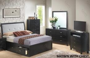 G1250FTSB2DMTV 4 Piece Set including Twin Size Storage Bed, Mirror amd Media Chest in Black