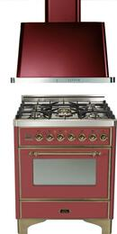 "2-Piece Burgundy Kitchen Package with UM76DVGGRBY 30"" Freestanding Gas Range and UAM76RB 30"" Wall Mount Range Hood"