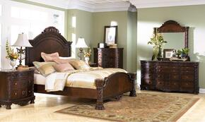 North Shore 4-Piece Bedroom Set with King Panel Bed with Dresser, Mirror and Nightstand in Dark Brown