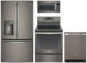 "4 Piece kitchen Package with JB860EJES 30"" Electric Freestanding Range, JVM7195EKES Over the Range Microwave Oven, GDT655SMJES 24"" Built In Full Console Dishwasher and GFE28GMKES 28"" 36"" French Door Refrigerator in Slate"
