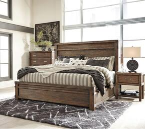 Leystone King Bedroom Set with Panel Bed, and Nightstand in Dark Brown