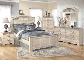 Catalina King Bedroom Set with Panel Bed, Dresser, Mirror and Nigthstand in Antique White