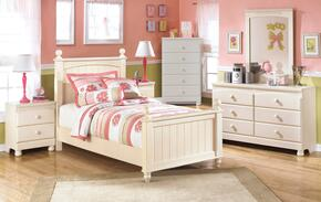 Cottage Retreat Twin Bedroom Set with Poster Bed, Dresser, Mirror and Nightstand in Cream