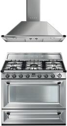 "2-Piece Stainless Steel Kitchen Package with TRU90X 36"" Dual Fuel Range and KT90XU 36"" Wall Mount Chimney Range Hood"